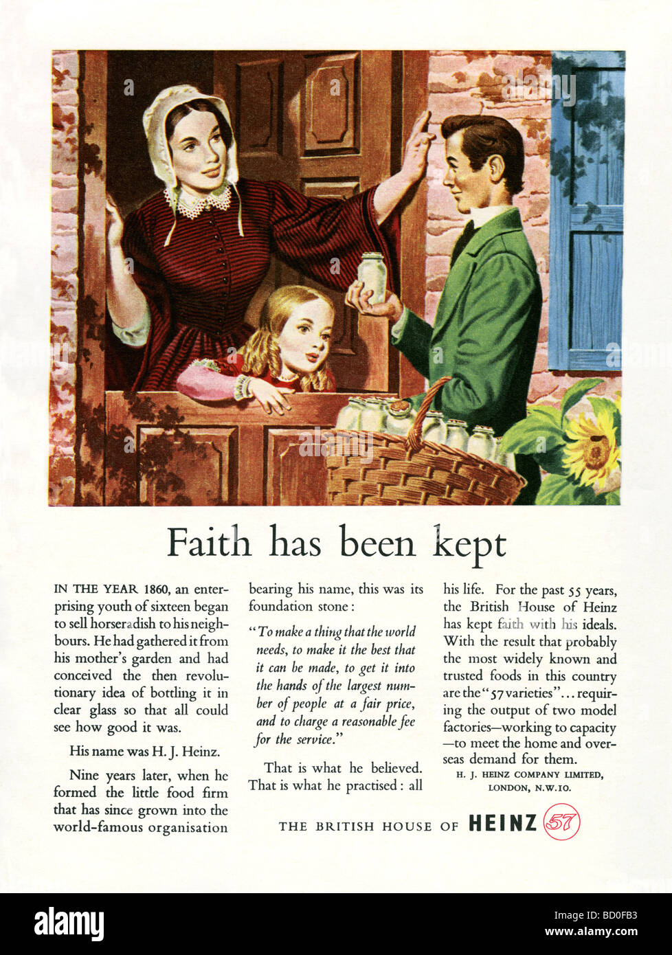 1951 advertisement for food company Heinz and its 57 varieties - Stock Image