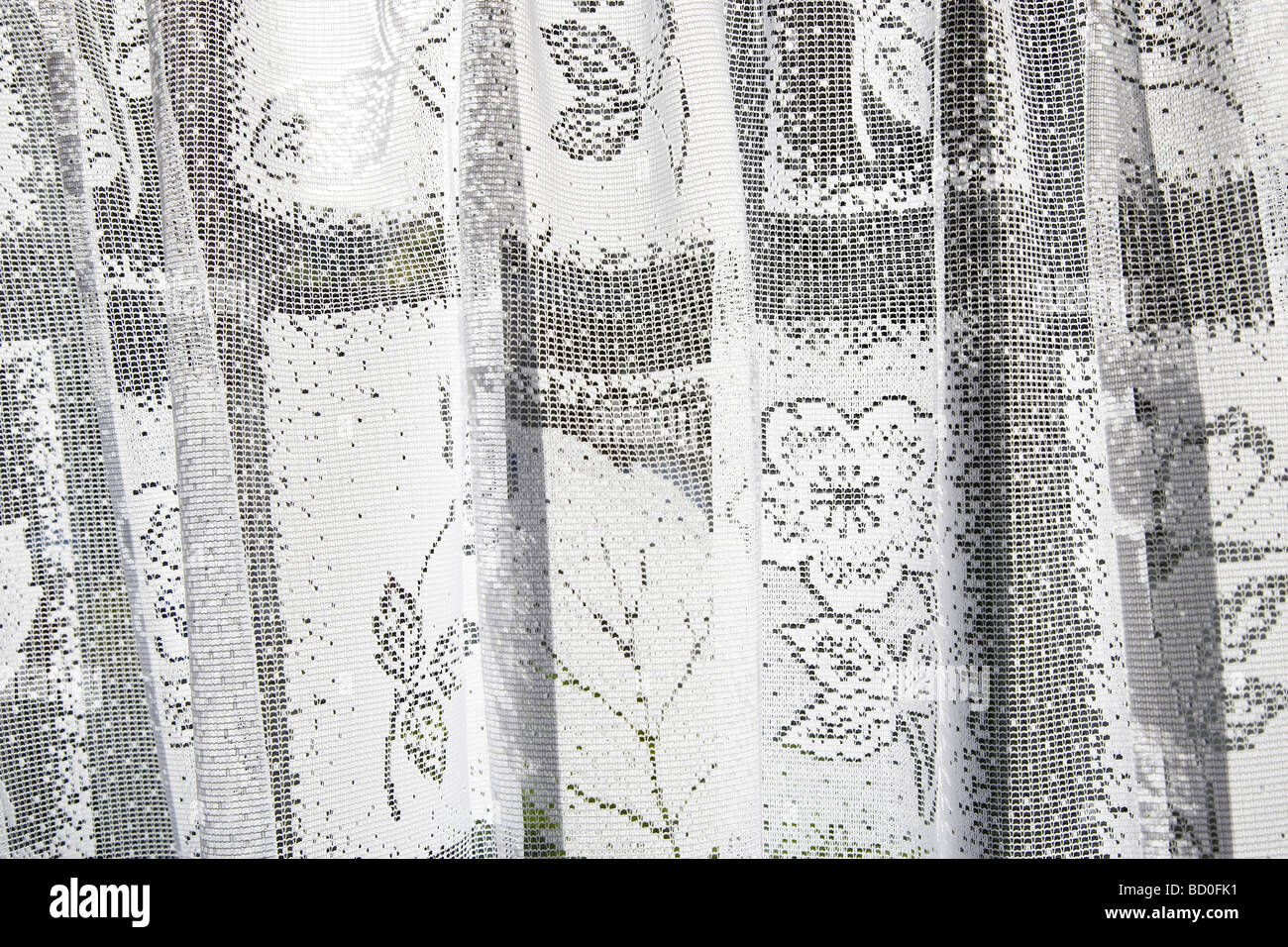 Net curtains, close up - Stock Image