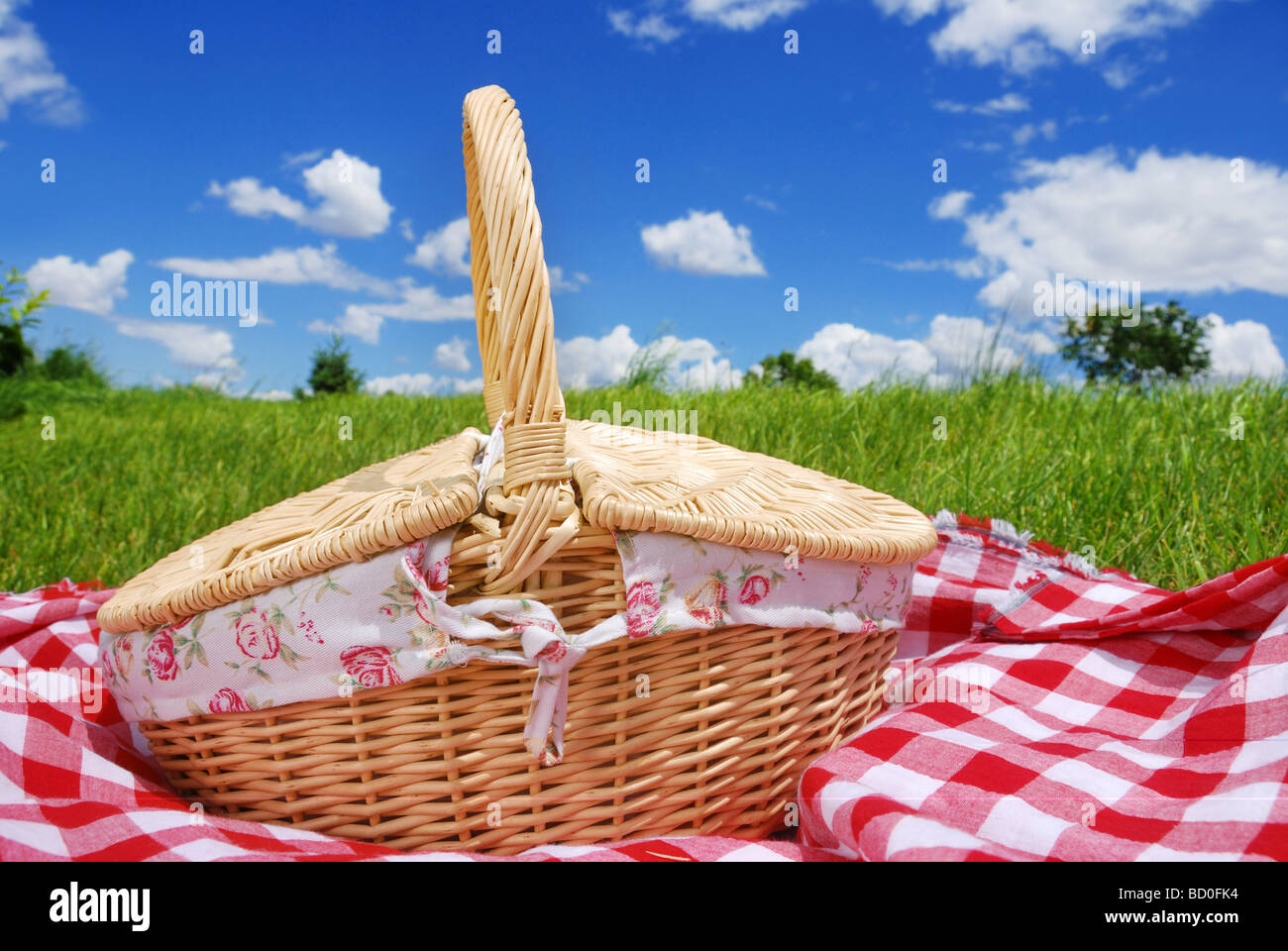 picnic settings on meadow - Stock Image