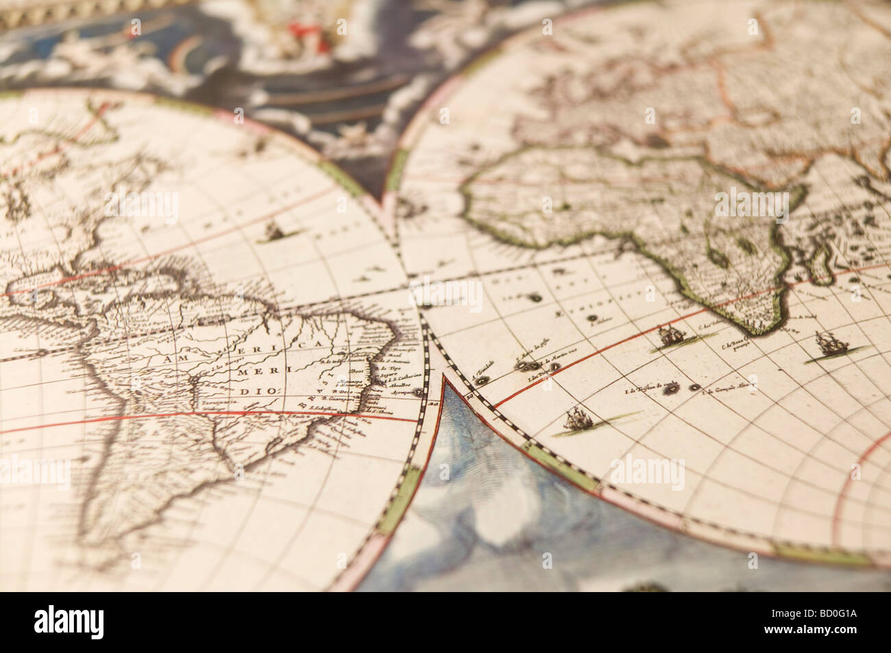Antique map of the world - Stock Image