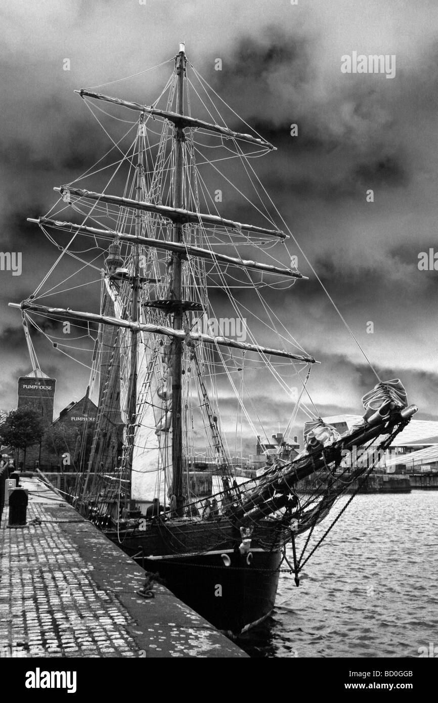 Tall Ship In Liverpool's Albert Dock, Merseyside, UK - Stock Image