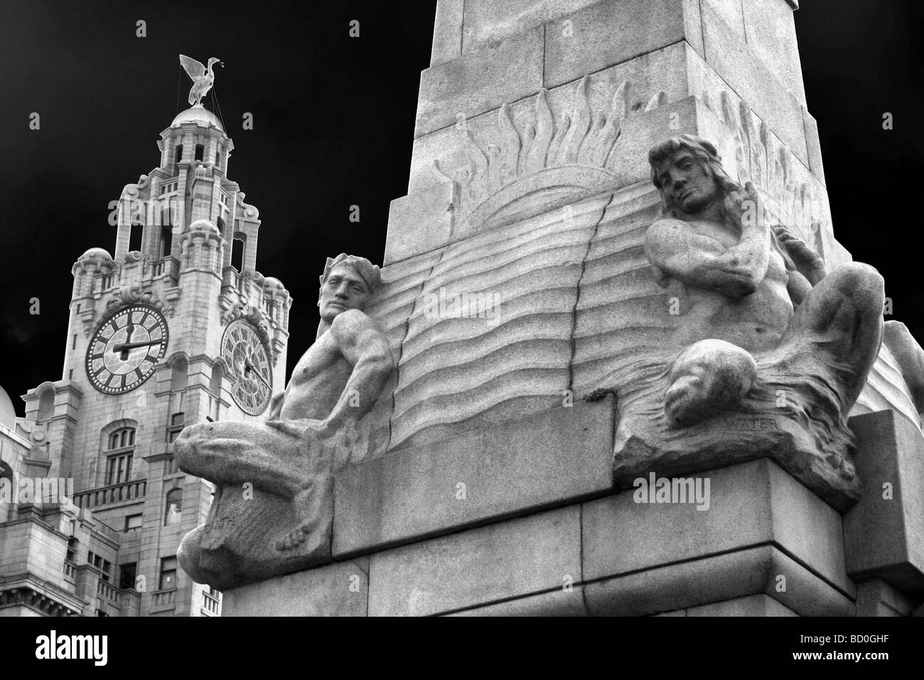 The Titanic Memorial And Liver Building At Pier Head, Liverpool, Merseyside, UK - Stock Image