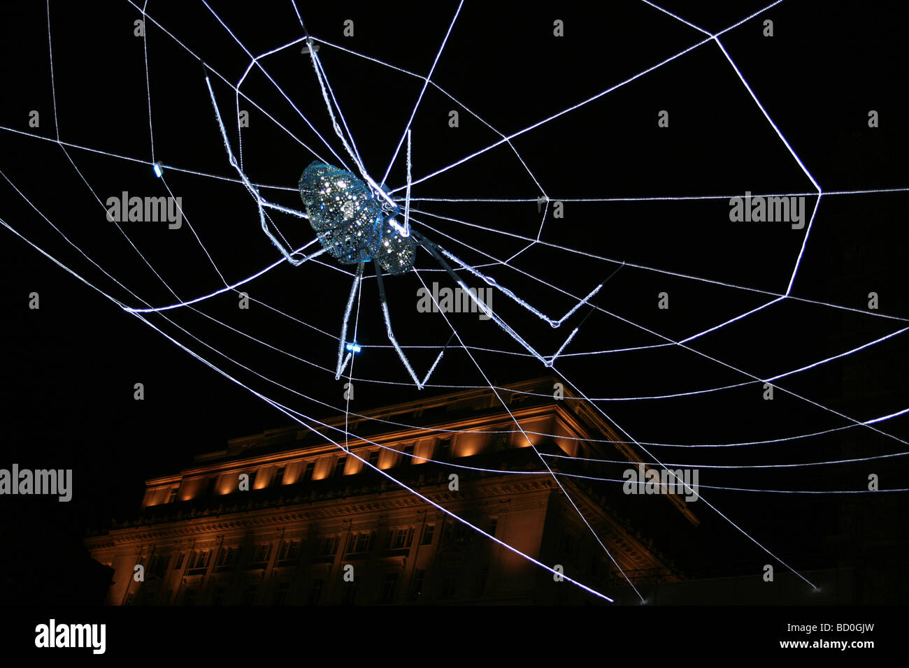 Spider on the 'Web Of Light' Art Installation Project In Liverpool, Merseyside, UK - Stock Image