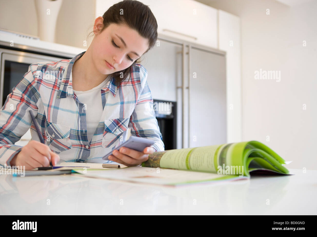 Girl 14, studying at home - Stock Image
