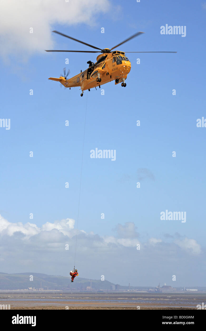 RAF Rescue Helicopter Swansea Airshow Wales UK - Stock Image