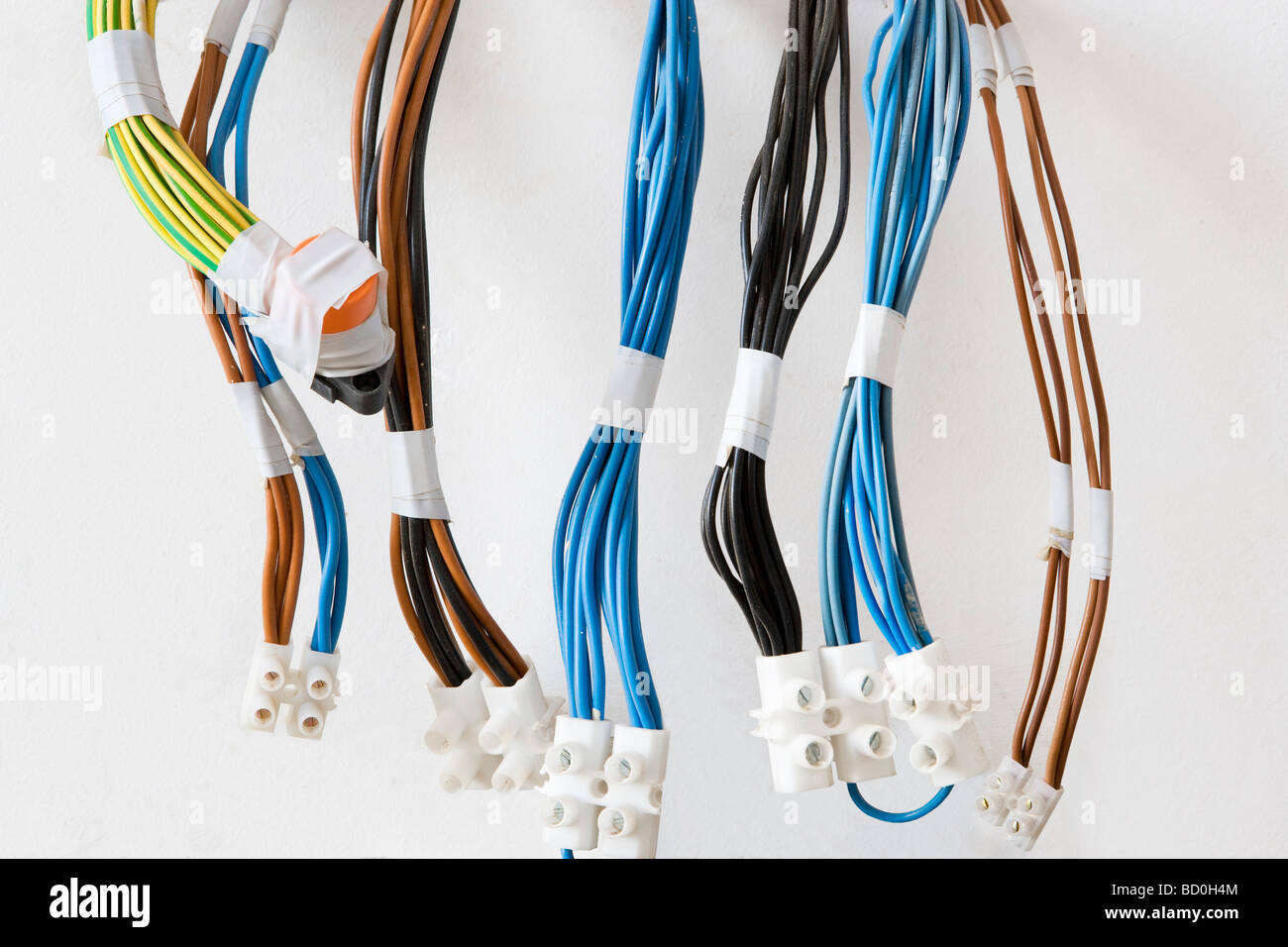 Multiple electrical cables Stock Photo