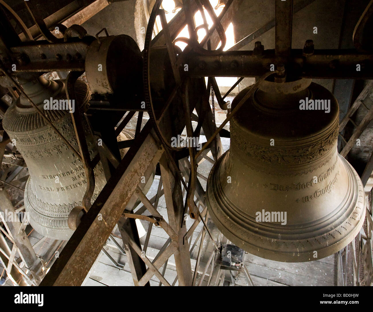 Ancient bell in Reformed Church in Sibiu city Romania - Stock Image