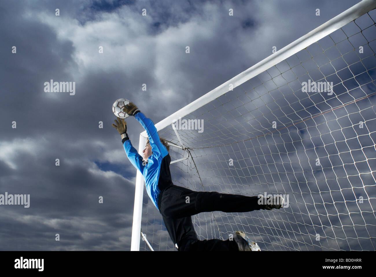goalkeeper diving - Stock Image
