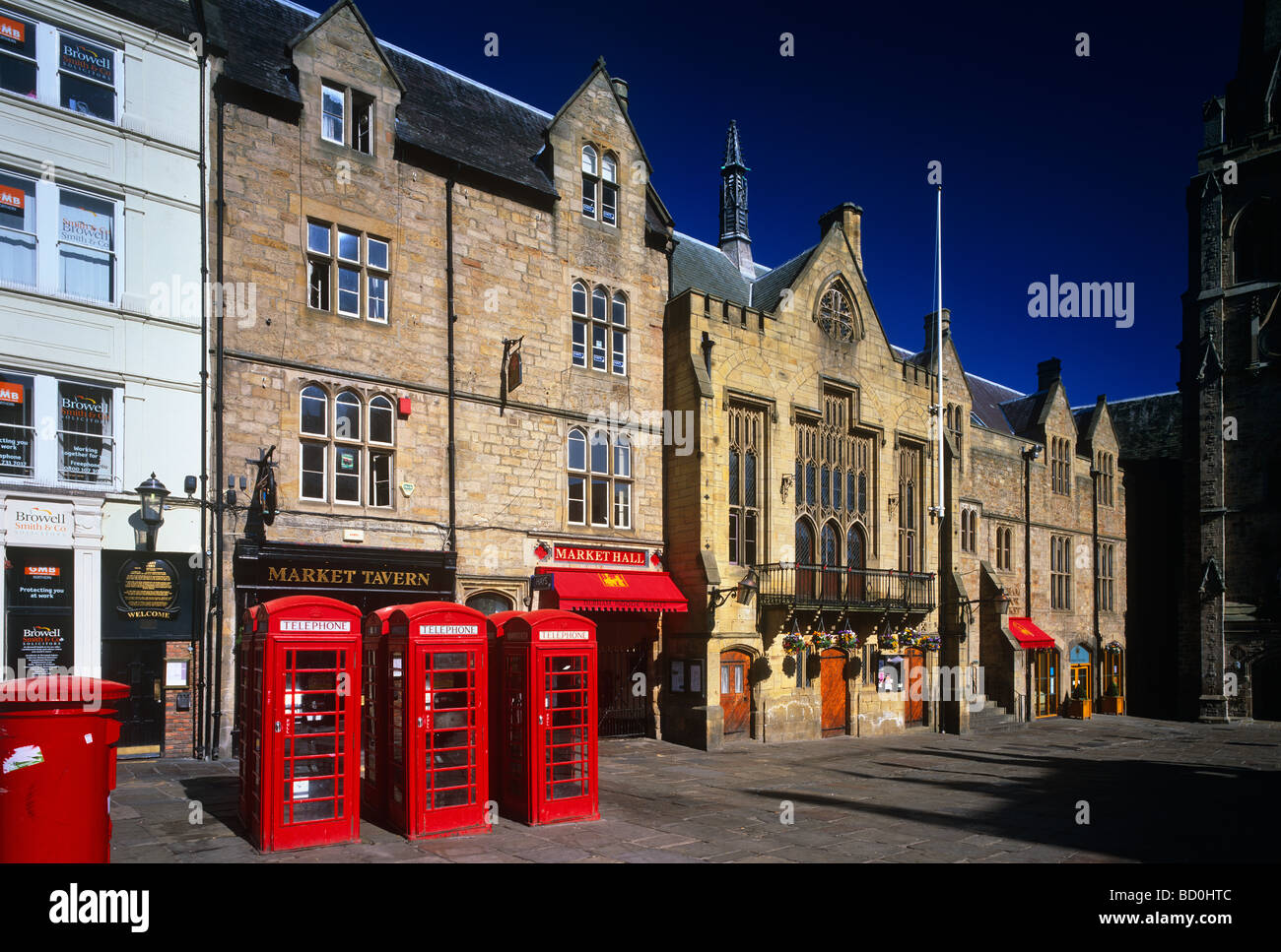 A View Of Durham Town Hall And Marketplace Durham City Stock Photo