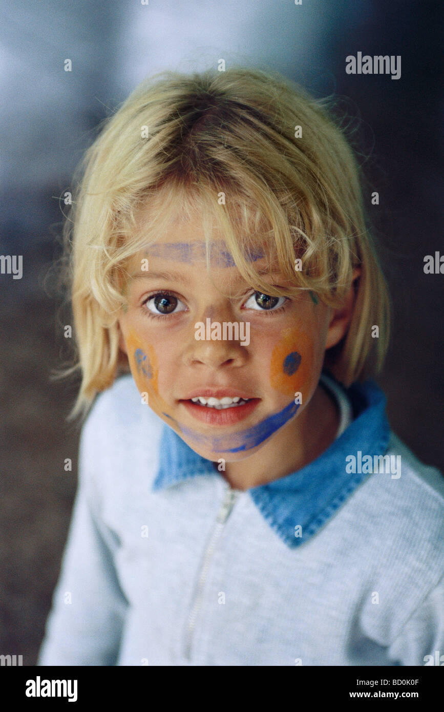 Little girl with face painted, portrait - Stock Image