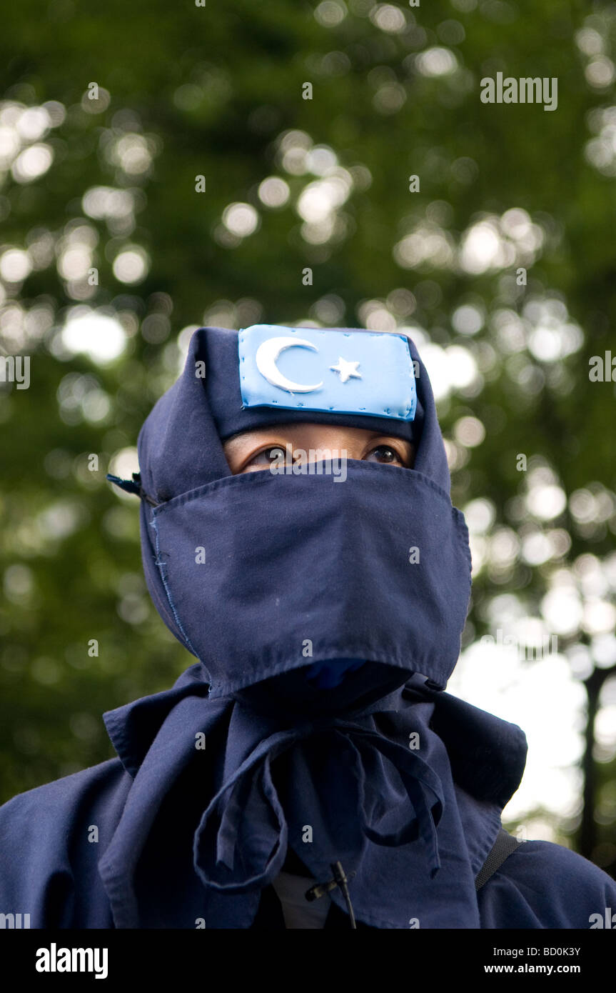 A veiled supporter of the Turkistan Islamic Movement (TIM) founded by Uyghur jihadists in Xinjiang Uyghur Autonomous Stock Photo