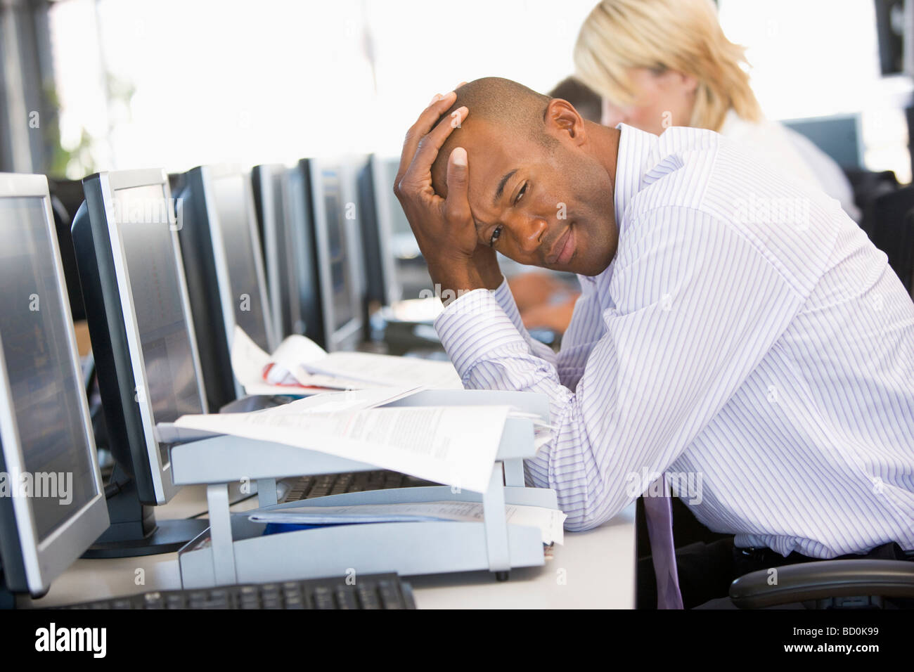 Stock Trader Looking Frustrated - Stock Image