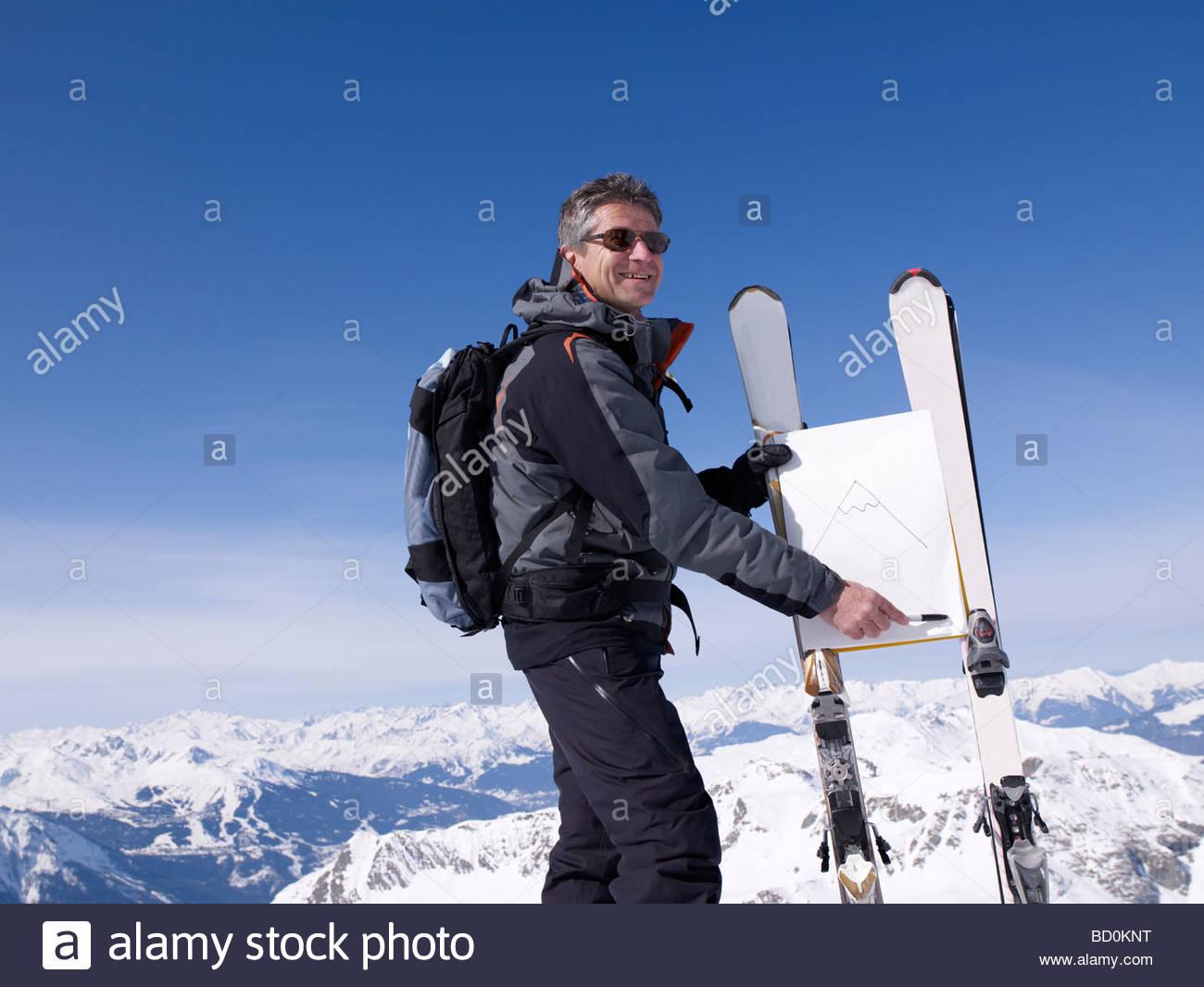 ski instructor teaching - Stock Image