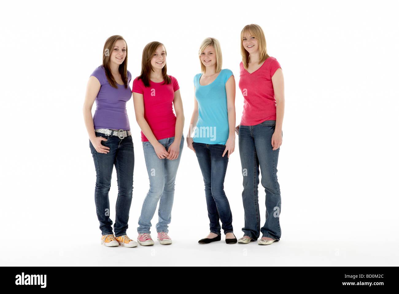 Group Of Teenage Girlfriends - Stock Image
