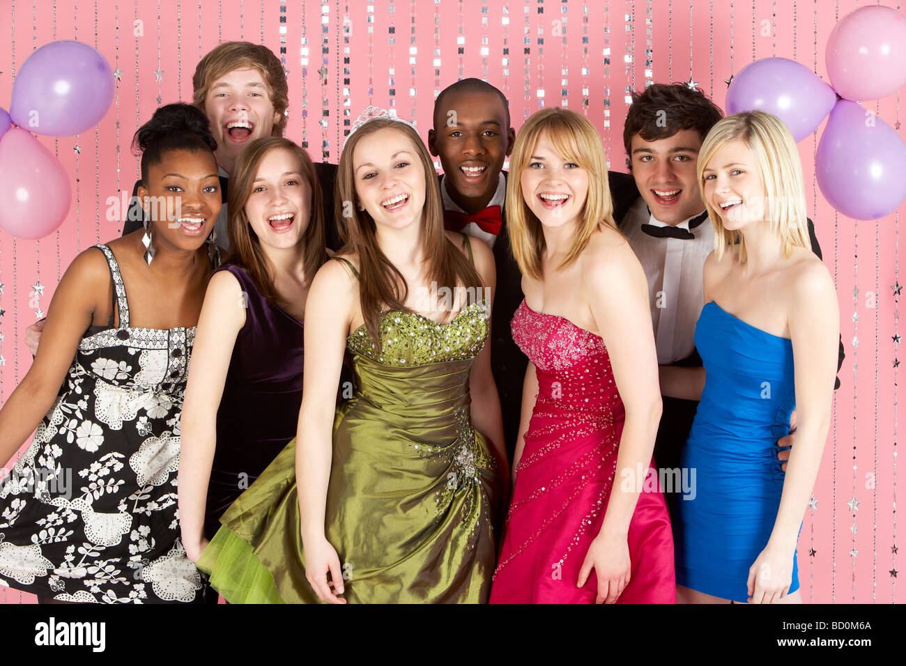 Group Of Teenage Friends Dressed For Prom - Stock Image
