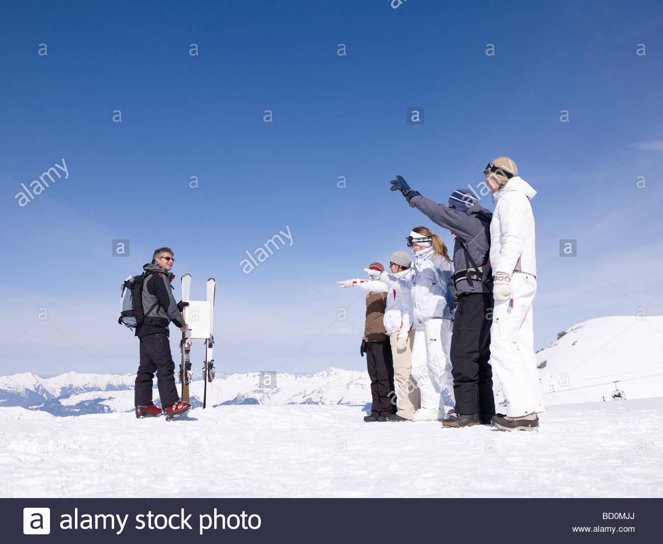 ski instructor teaching class - Stock Image
