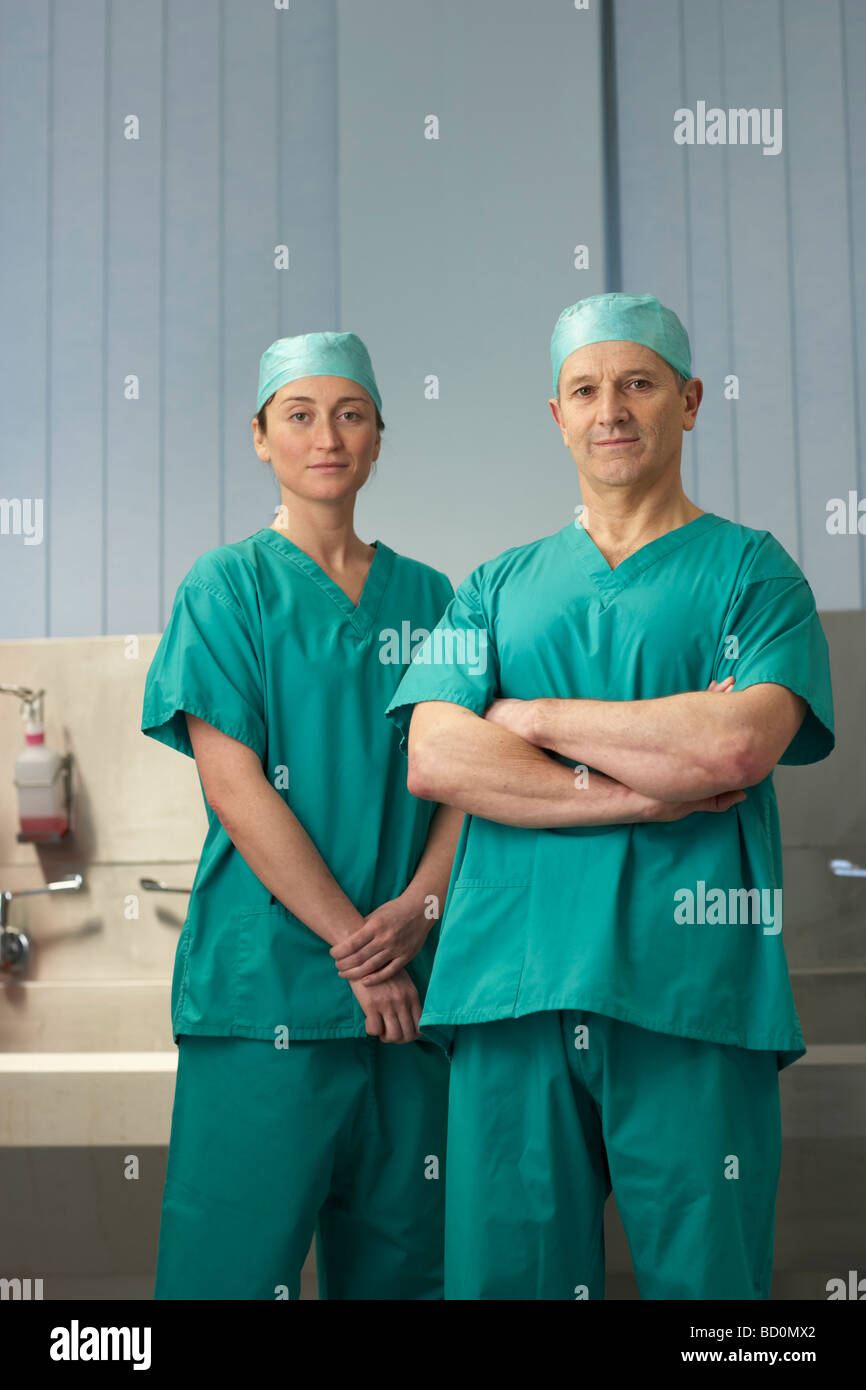 Two medical staff in scrubs - Stock Image