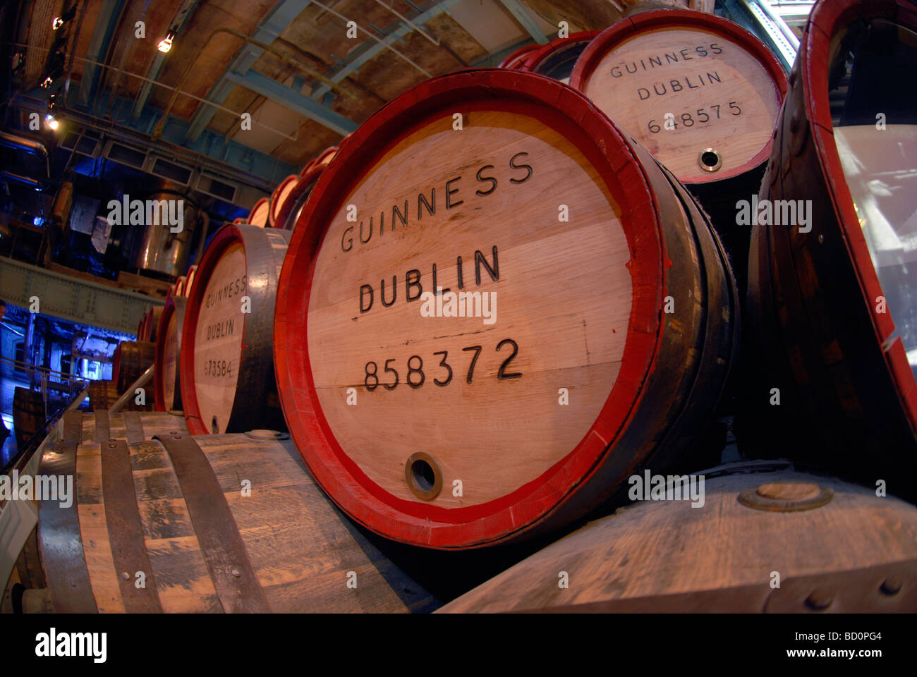 Barrels used for storing Guinness at the Storehouse visitors centre at the St James Gate Guinness brewery in Dublin - Stock Image