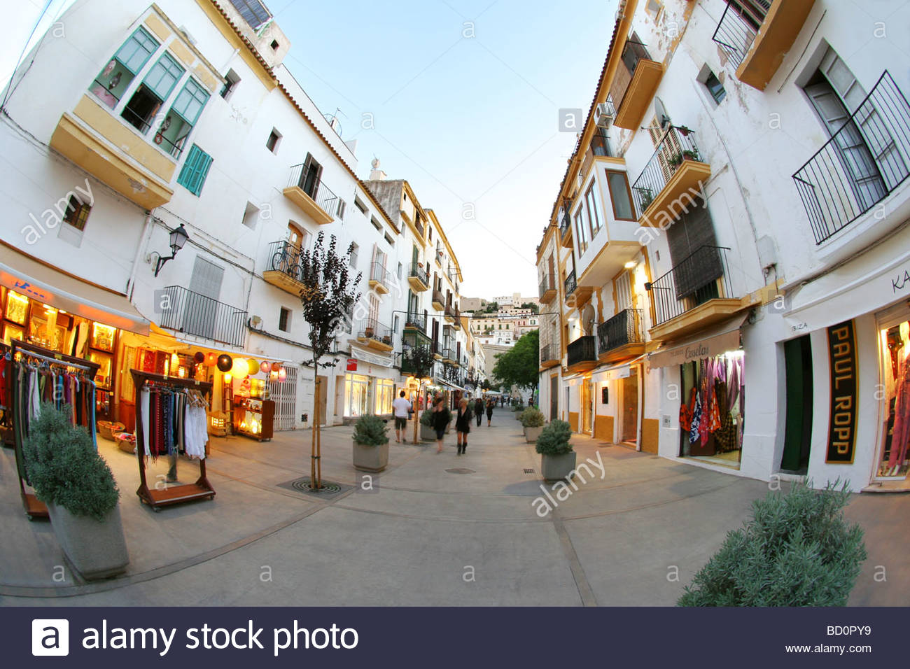 shops and building in ibiza town ibiza stock photo 25218909 alamy. Black Bedroom Furniture Sets. Home Design Ideas