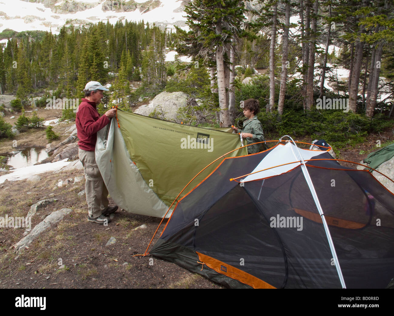 Campers in Holy Cross Wilderness - Stock Image