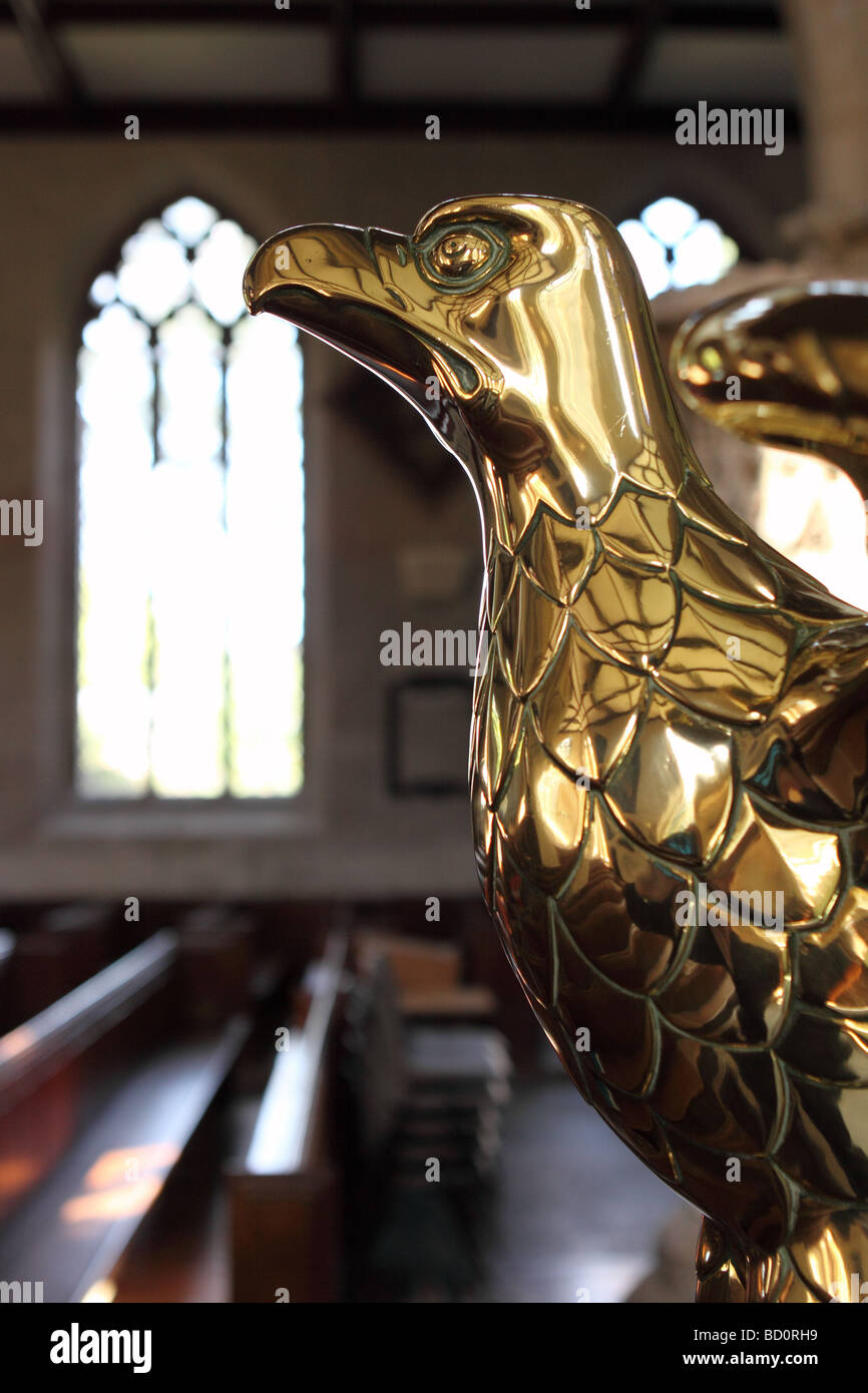 Brass Eagle lectern in local Church of England parish church at Shepton Mallet Somerset England UK - Stock Image