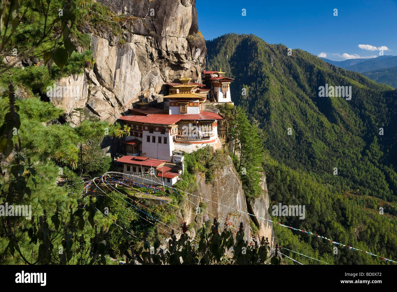 Taktsang Dzong monastery or Tigers Nest built in the 8th century Paro Bhutan - Stock Image