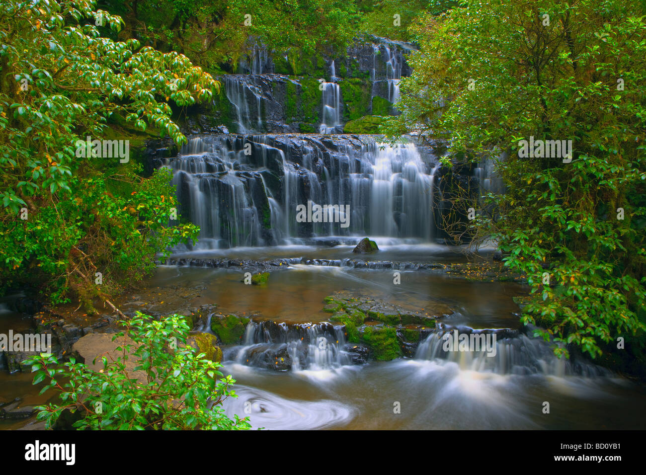 Purakaunui Falls Catlins South Island New Zealand - Stock Image