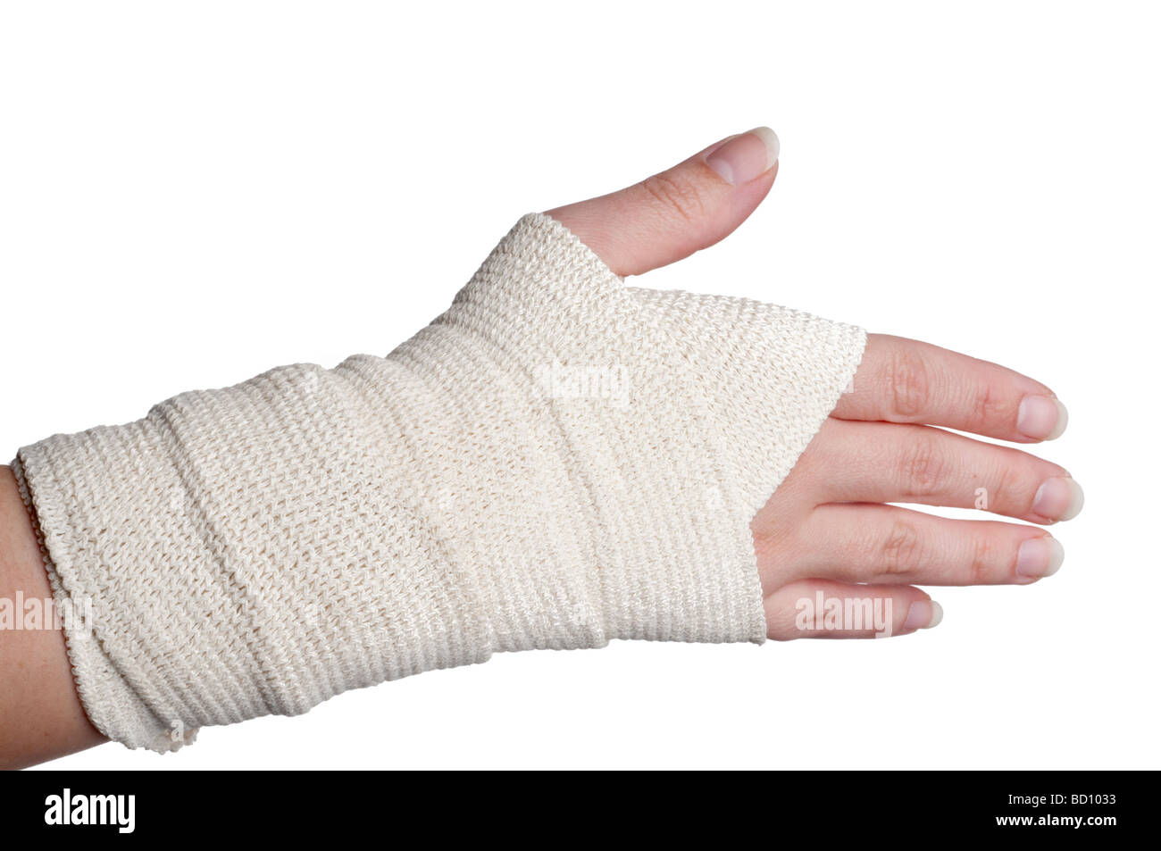 A horizontal image of a woman s bandaged hand - Stock Image