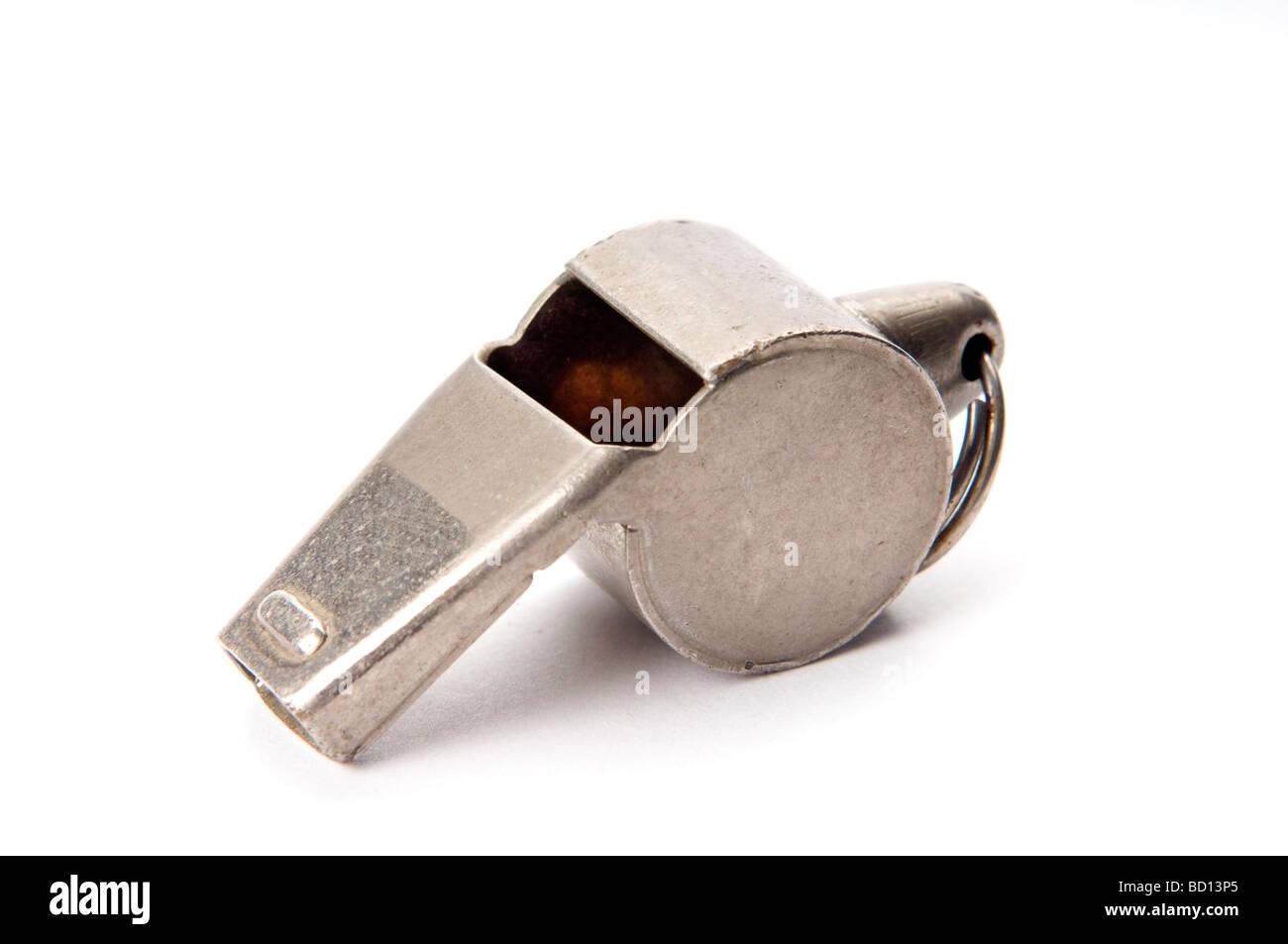 old whistle on white - Stock Image