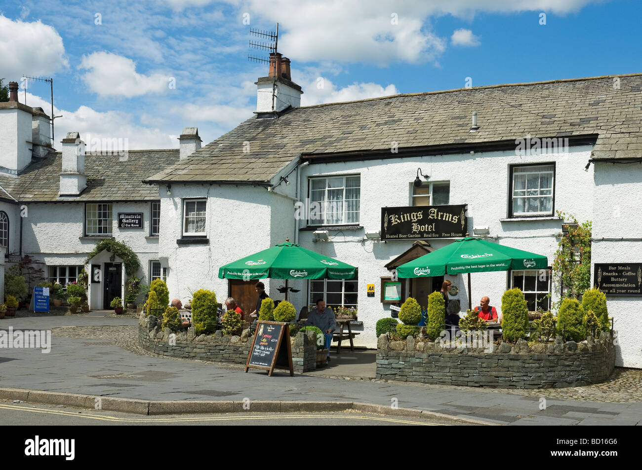 The Kings Head Hotel Hawkshead Cumbria England UK United Kingdom GB Great Britain - Stock Image