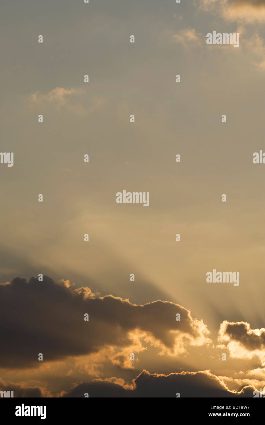 Sky with backlit clouds - Stock Image