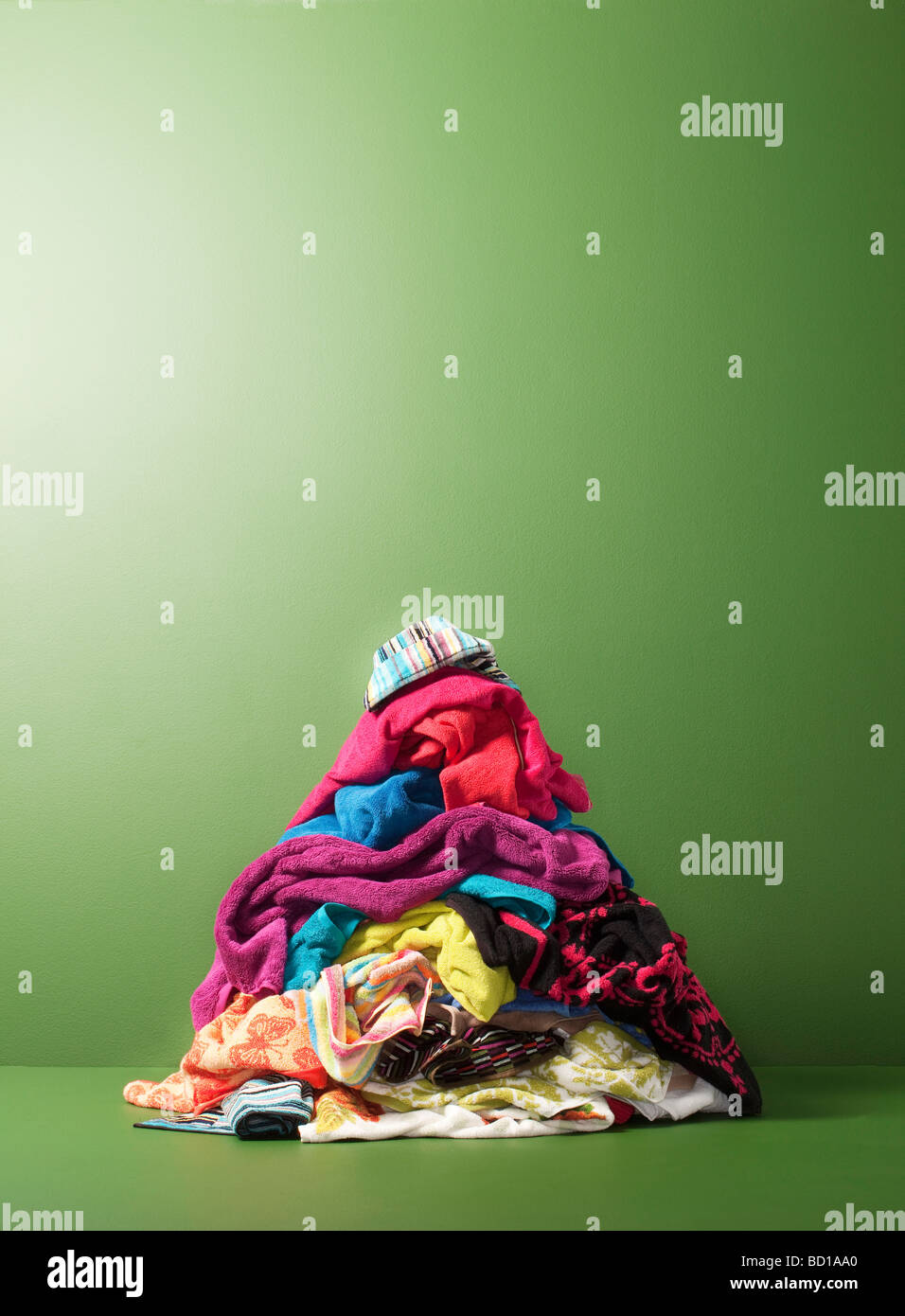 Pile of towels for laundry - Stock Image