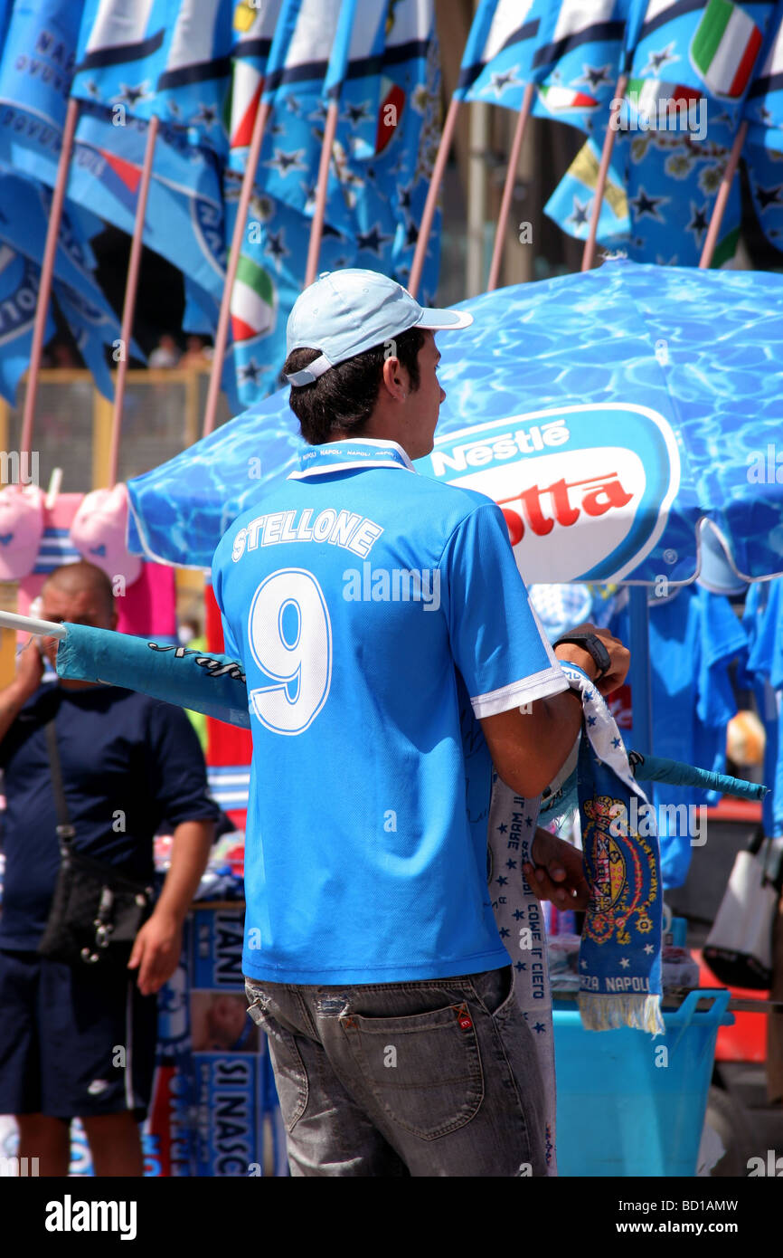 Napoli Football Club Fan Supporter at the Stadium - Stock Image