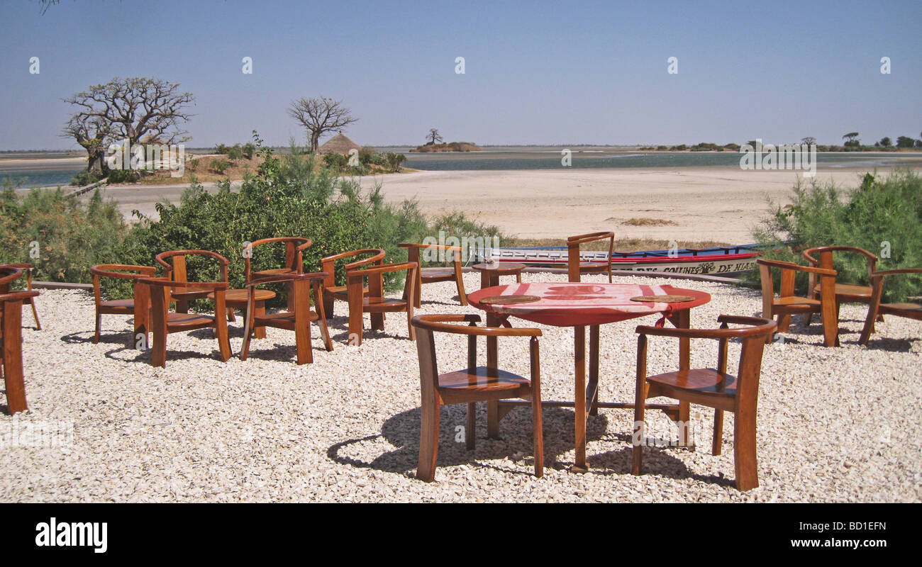 SENEGAL - view across the delta from Lodge des Collines de Niassam on the south west coast with Baobab tree at left Stock Photo