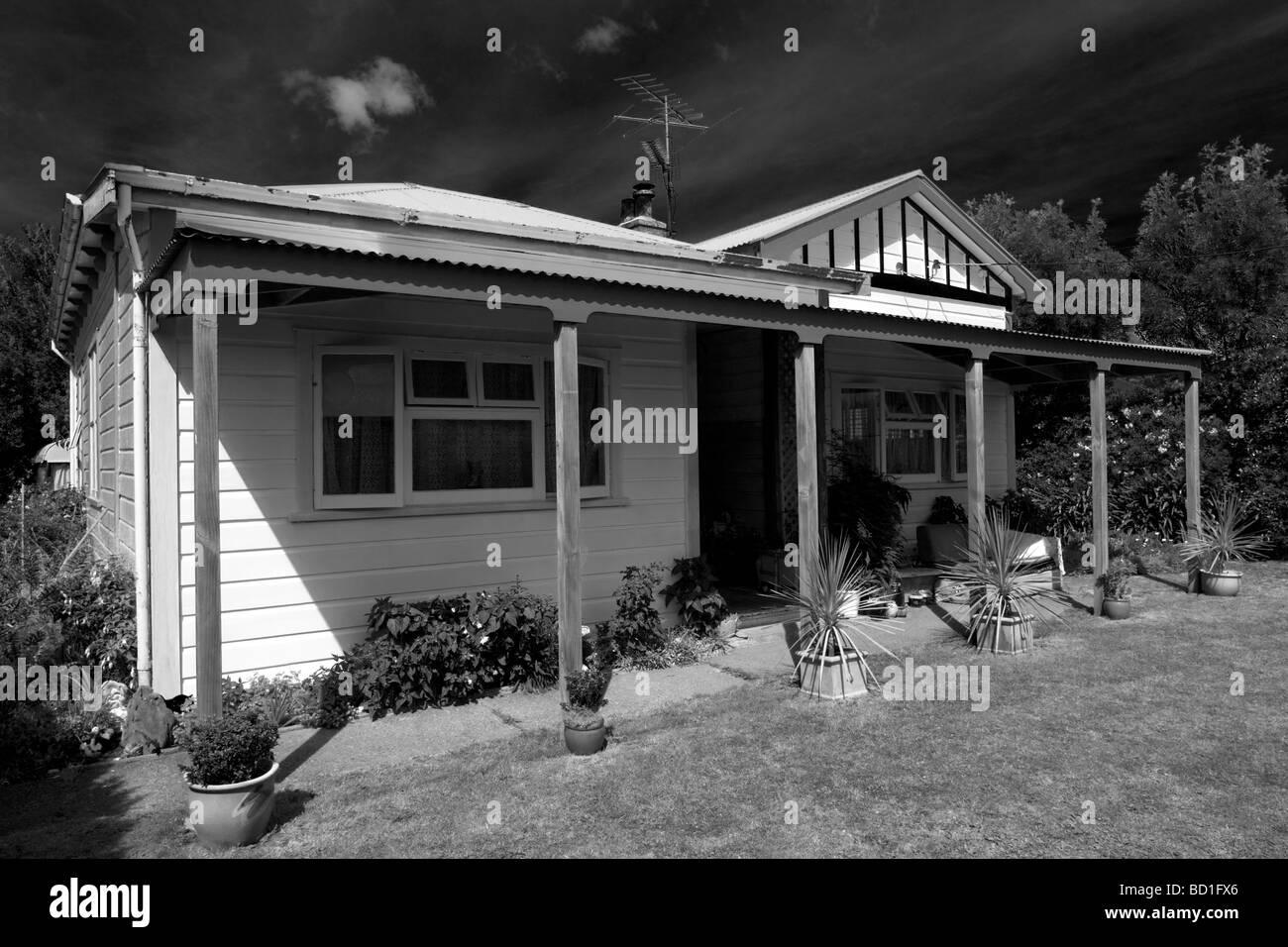 Black and white new Zealand  house Stock Photo