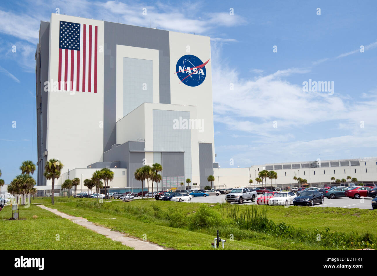 Vehicle Assembly Building was constructed to allow for the vertical assembly of the Saturn V rocket for the Apollo - Stock Image