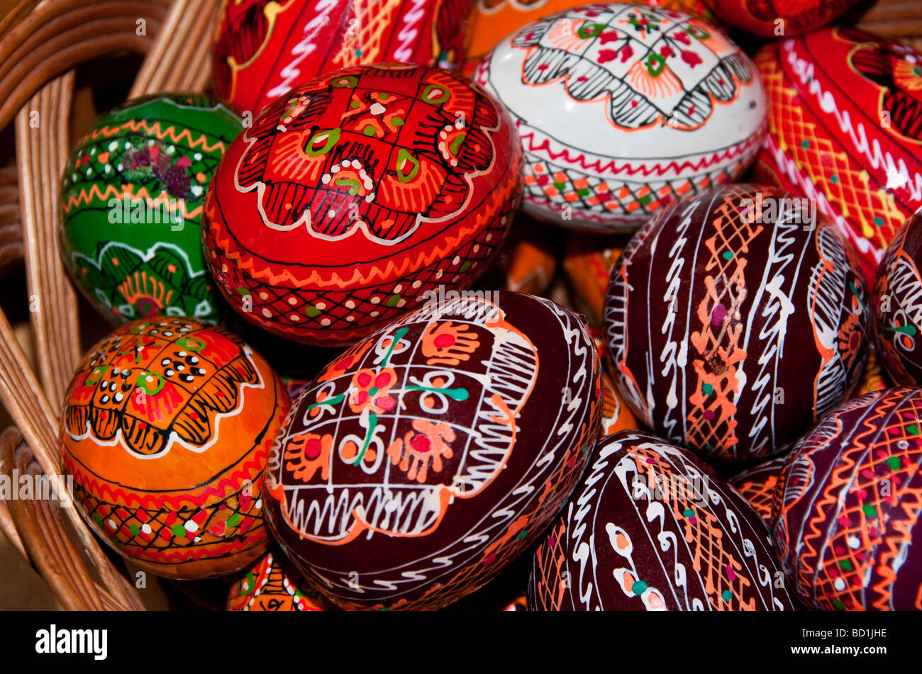 Romanian traditional folk eggs for sale at Humor Painted Monastery in Bucovina - Stock Image