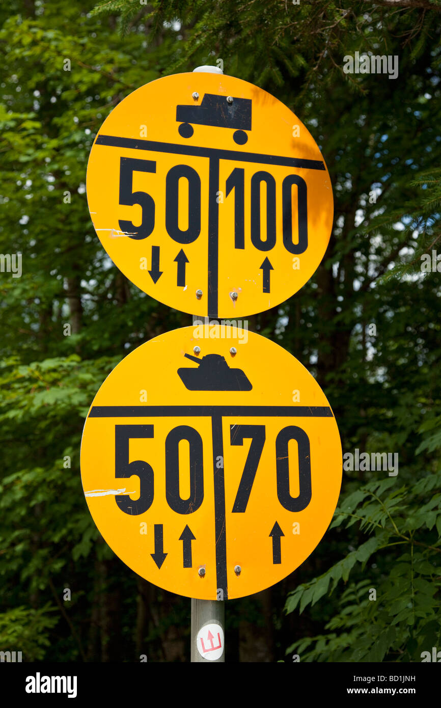 Military weight loading road sign for vehicle types in Germany Europe - Stock Image
