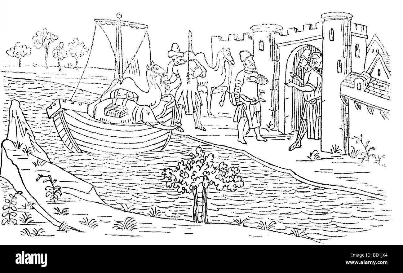 This illustration from  the 14th century 'Book of Wonders'shows Marco Polo landing in Ormuz , an island - Stock Image