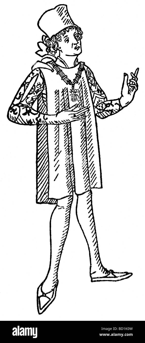 This illustration of Marco Polo himself is from a woodcut in the first printed edition of the Travels, published - Stock Image