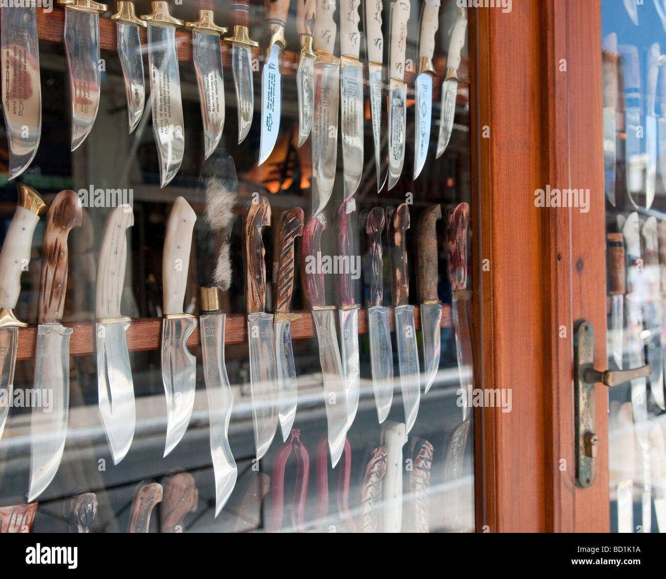 Shop selling knives in the Old Town in Chania, Crete, Greece. - Stock Image