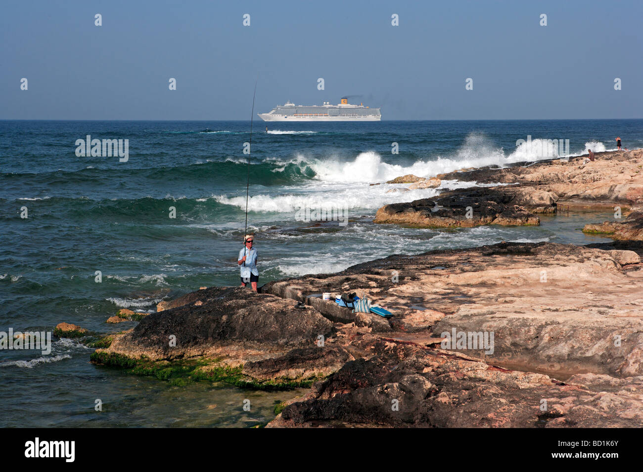 Cruise Liner and foreshore, St Julian's, Malta, - Stock Image