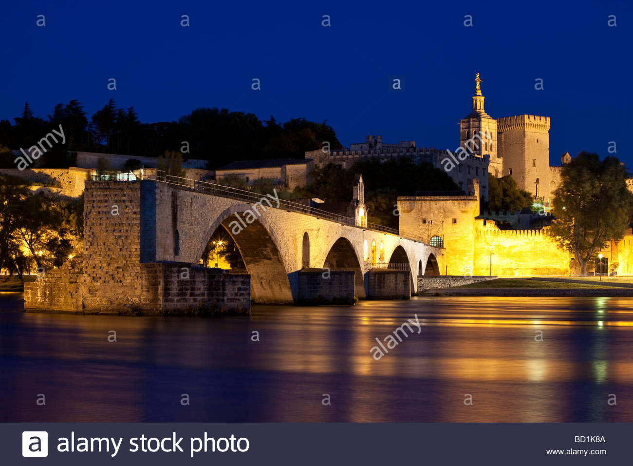 Pont St Benezet over River Rhone in Avignon France - Stock Image