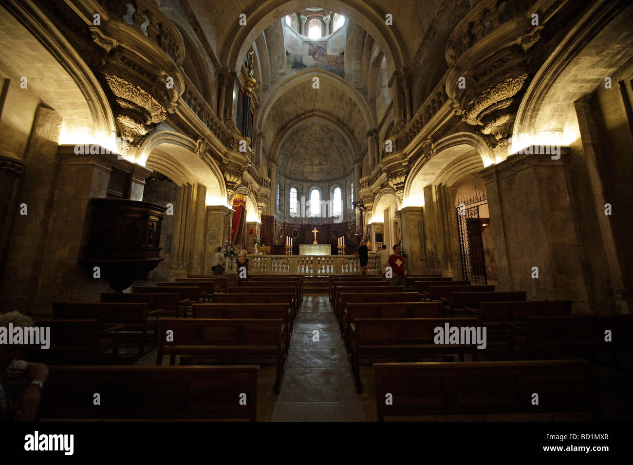 Intrior of the Cathedral of Notre-Dame-des-Doms in Avignon, Provence, France, Europe - Stock Image