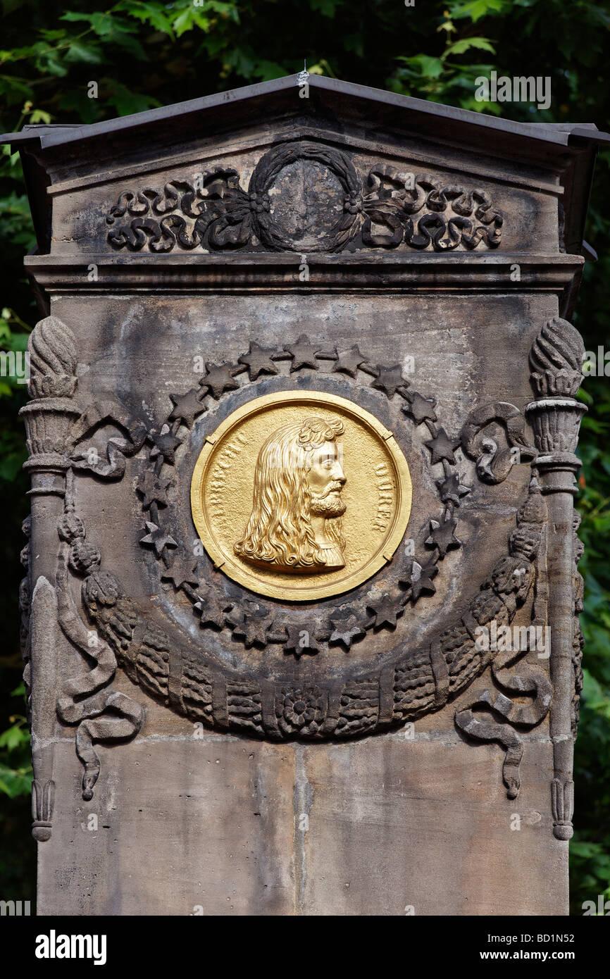 Bronze medallion, Duerer Pirckheimer Fountain, Friendship Fountain, Max Square, historic centre, City of Nuremberg, - Stock Image