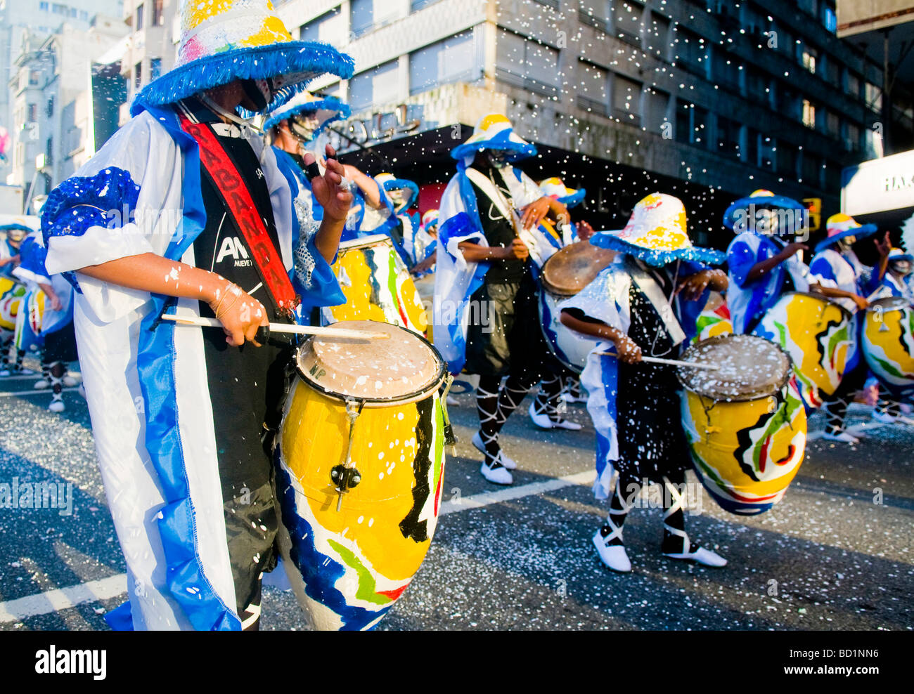 Candombe drummers march in the street of Montevideo Uruguay - Stock Image