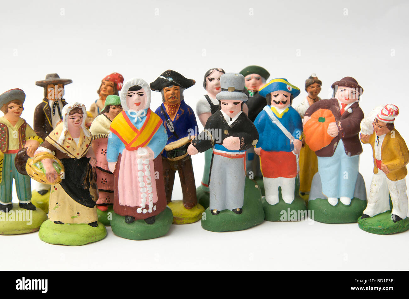 Santons, traditional French ceramic terracotta villagers figurines from Provence, France - Stock Image