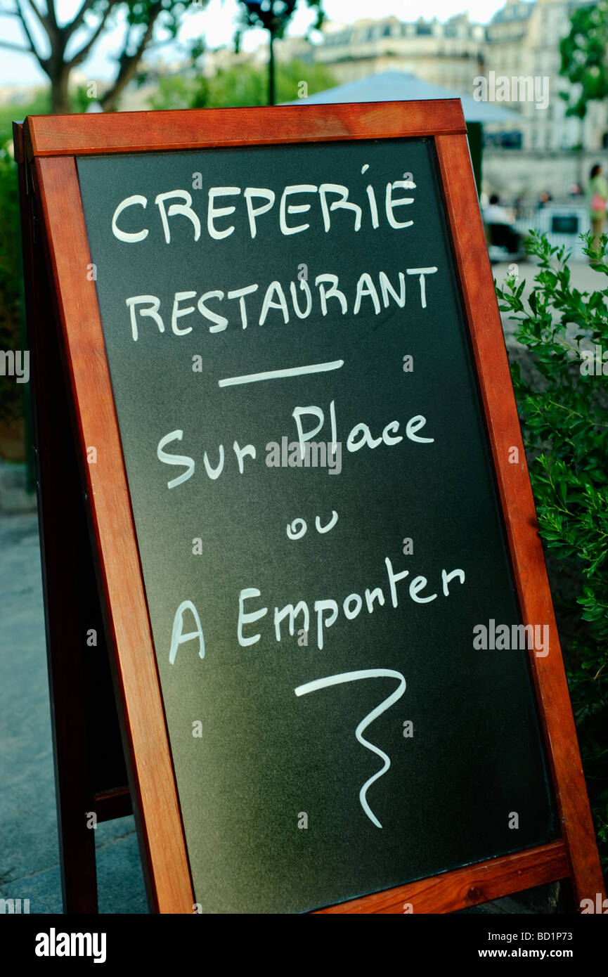 Paris France, French Creperie Restaurant Sign on Blackboard Street  Quay at Paris Plages Event - Stock Image