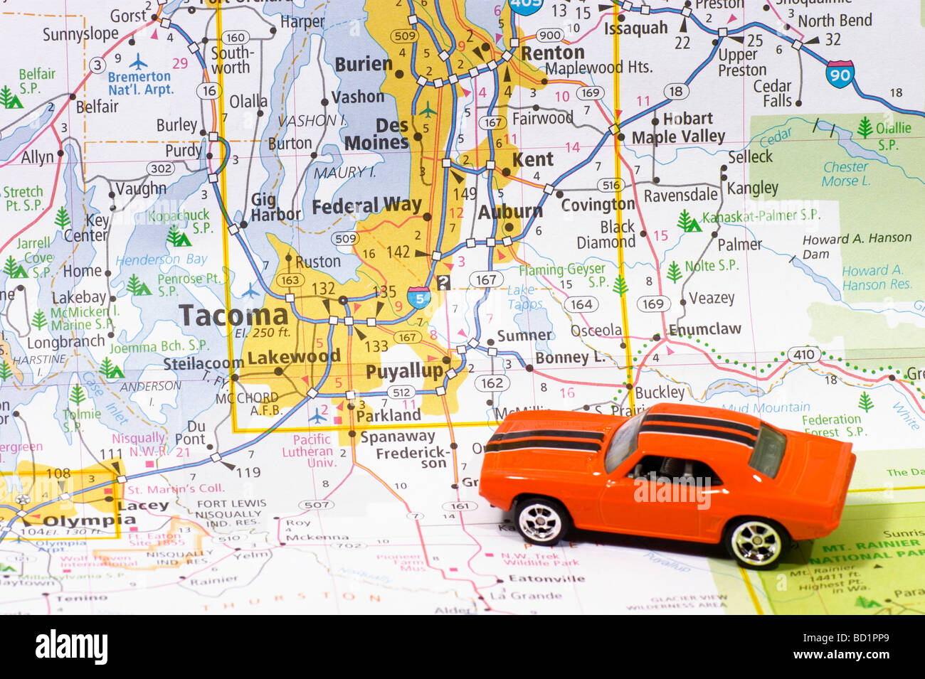 Automobile on Road map or Seattle Tacoma Washington USA United