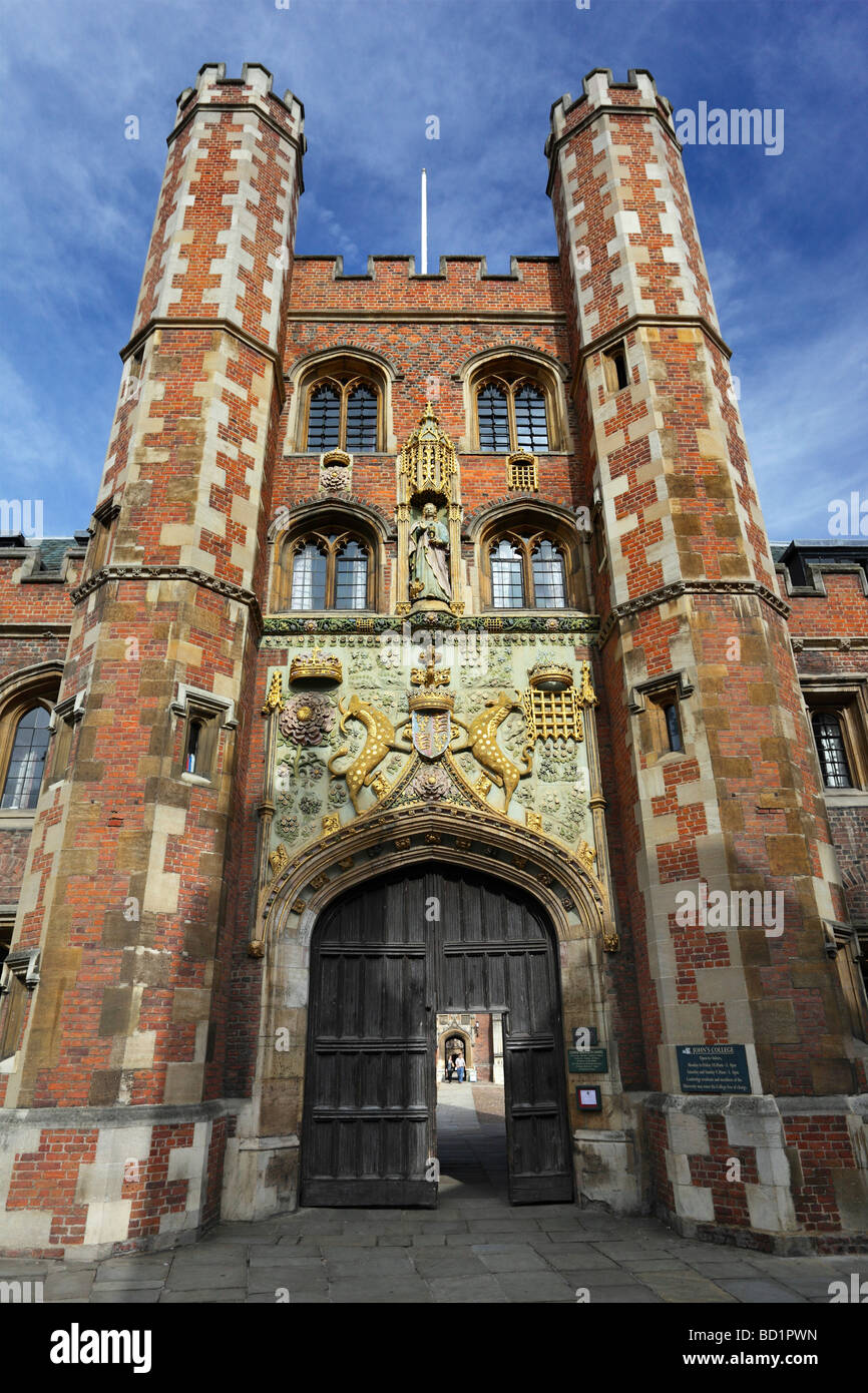Entrance to St John's College Cambridge Stock Photo